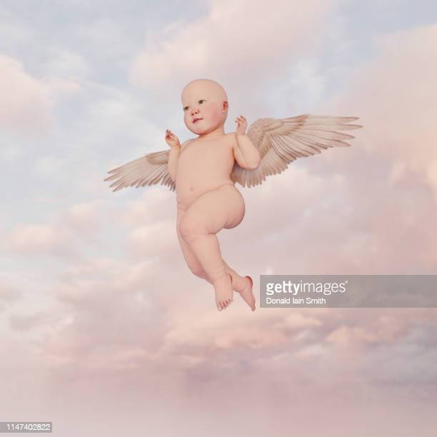 baby series: winged baby hovering in cloudy sky - anges et cherubins photos et images de collection