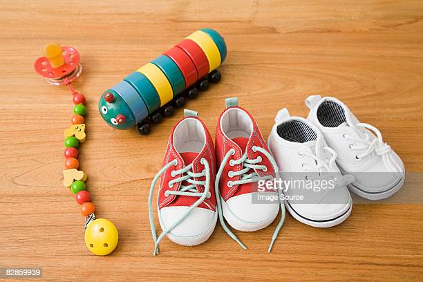 Baby shoes and toys