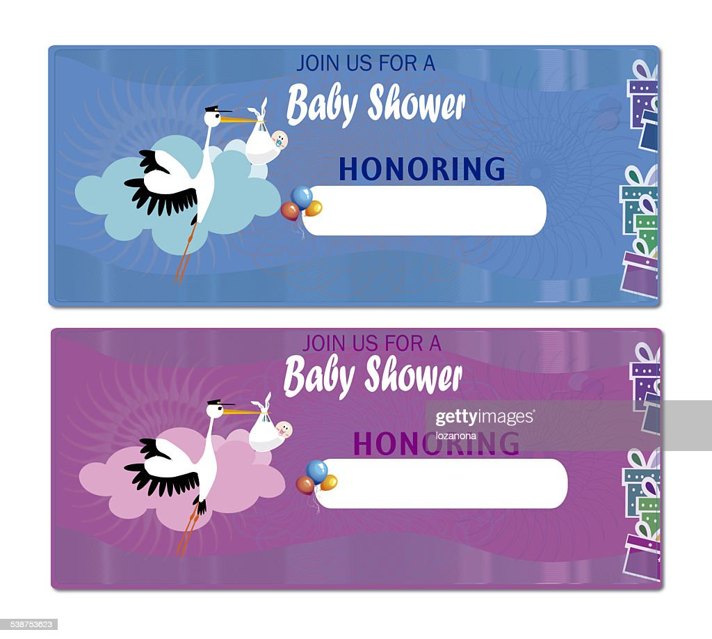 Baby Shower Invitation Stork And Baby Stock Photo | Getty Images