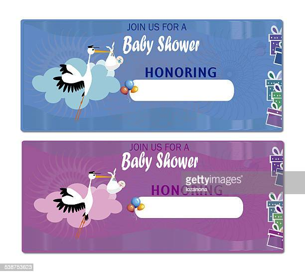 Baby Shower Invitation Stork and baby
