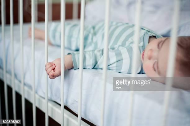 Baby sleeping in hospital