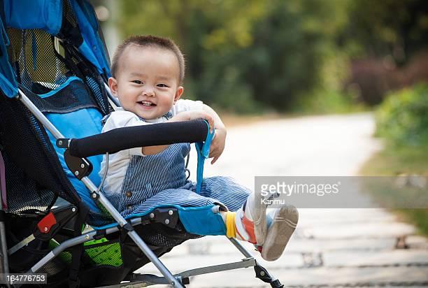 Baby smiling sitting stroller