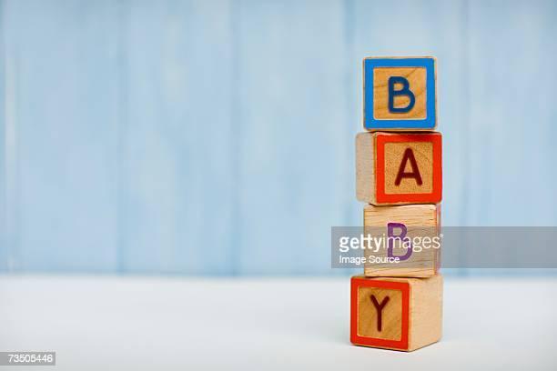 Bebé explican en bloques de construcción