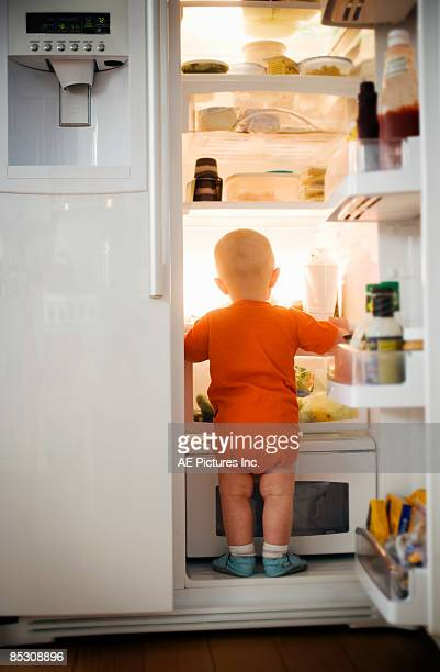 baby standing in refrigerator - frigo humour photos et images de collection