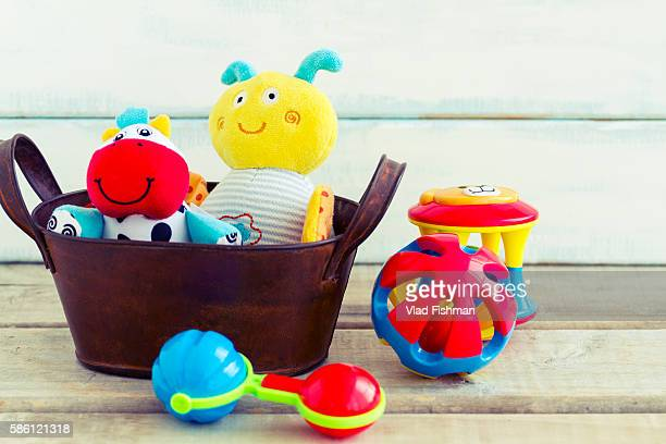Baby toys in a basket
