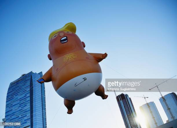 Baby Trump makes its West Coast debut at Politicon at Los Angeles Convention Center on October 19, 2018 in Los Angeles, California.