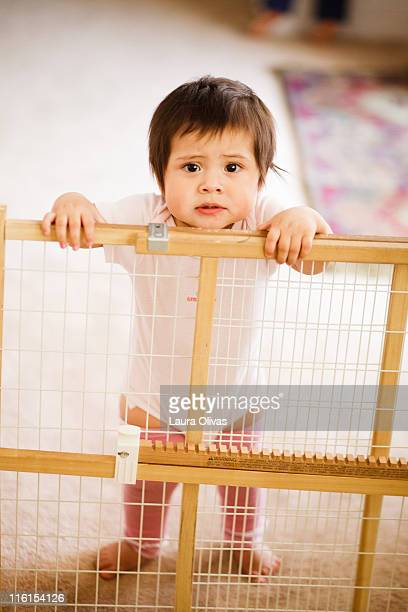 Baby upset with security gate