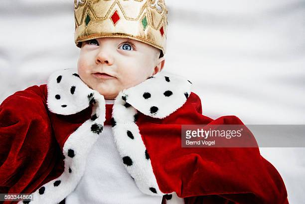 baby wearing king outfit - crown stock pictures, royalty-free photos & images