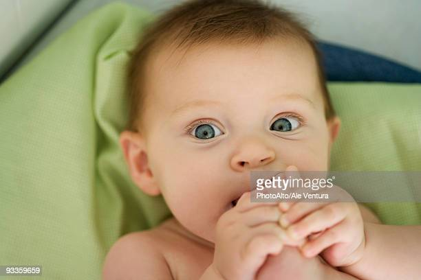Baby with foot in mouth, close-up