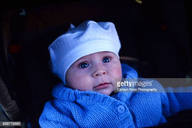 baby with hat - carolyn ross stock pictures, royalty-free photos & images