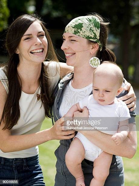 baby with her mother and aunt - niece stock photos and pictures