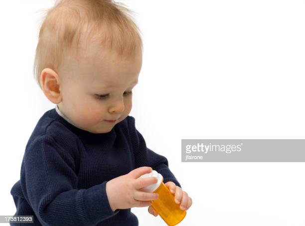 Baby with Medicine Bottle - Copy Space