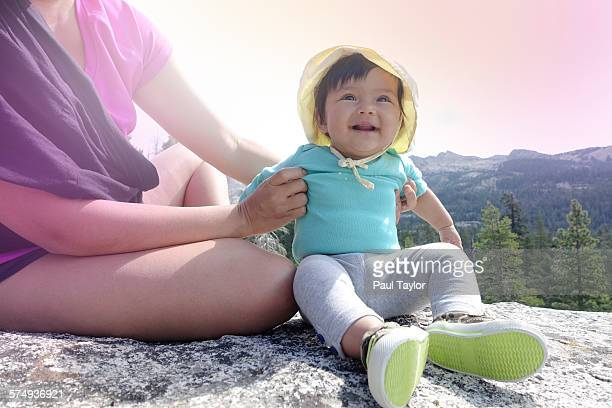 Baby with Mother in Mountains
