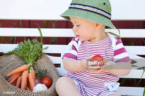 baby with organic food