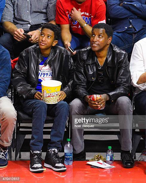 Babyface and his son Dylan Edmonds attend a basketball game between the San Antonio Spurs and the Los Angeles Clippers at Staples Center on April 19...