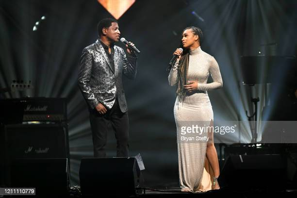 Babyface and Katlyn Nichol perform at the 24th annual Keep Memory Alive 'Power of Love Gala' benefit for the Cleveland Clinic Lou Ruvo Center for...