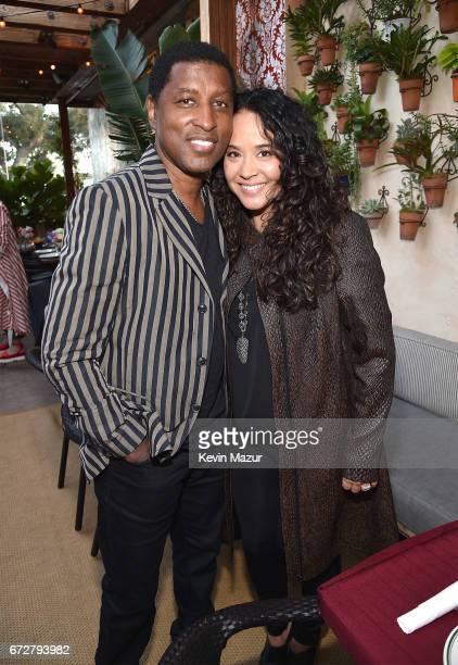 Babyface and Nicole Pantenburg attend Barbra Streisand's 75th birthday at Cafe Habana on April 24 2017 in Malibu California