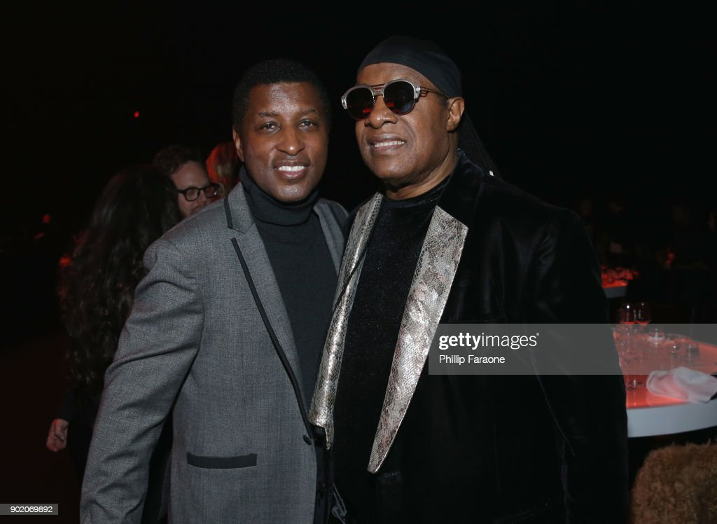 Babyface and Stevie Wonder attend The Art Of Elysium's 11th Annual Celebration with John Legend at Barker Hangar on January 6, 2018 in Santa Monica, California.