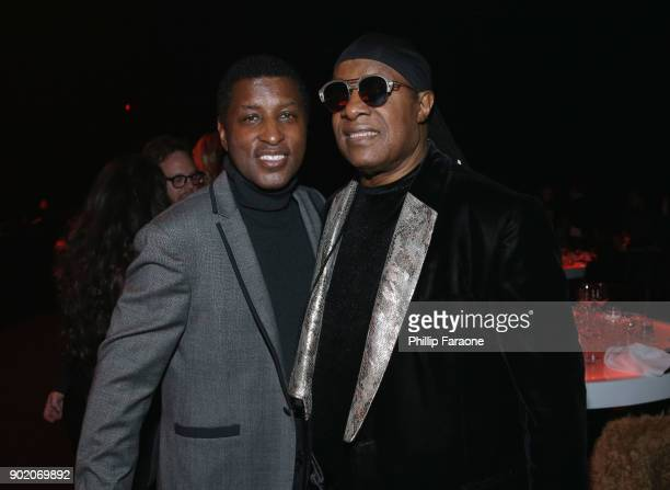 Babyface and Stevie Wonder attend The Art Of Elysium's 11th Annual Celebration with John Legend at Barker Hangar on January 6 2018 in Santa Monica...