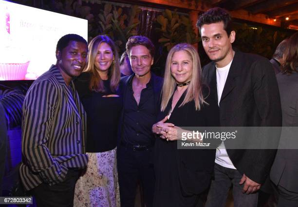 Babyface Daisy Fuentes Richard Marx Barbra Streisand and John Mayer attend Barbra Streisand's 75th birthday at Cafe Habana on April 24 2017 in Malibu...