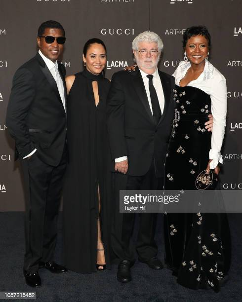 Babyface Nicole Edmonds George Lucas and Mellody Hobson attend the 2018 LACMA ArtFilm Gala at LACMA on November 3 2018 in Los Angeles California