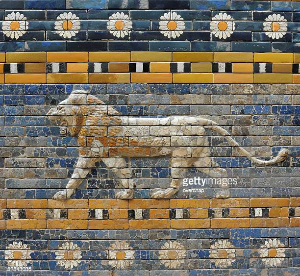 babylonian lion - mesopotamian stock photos and pictures