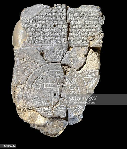 Babylonian world map c600 BC the earliest known map of the world Clay tablet with cuneiform script at top Writing Cartography Ancient Civilisation...