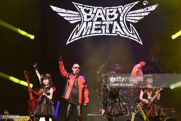 Babymetal perform with Rob Halford of Judas Priest during the Alternative Press at Jerome Schottenstein Center on July 18 2016 in Columbus Ohio