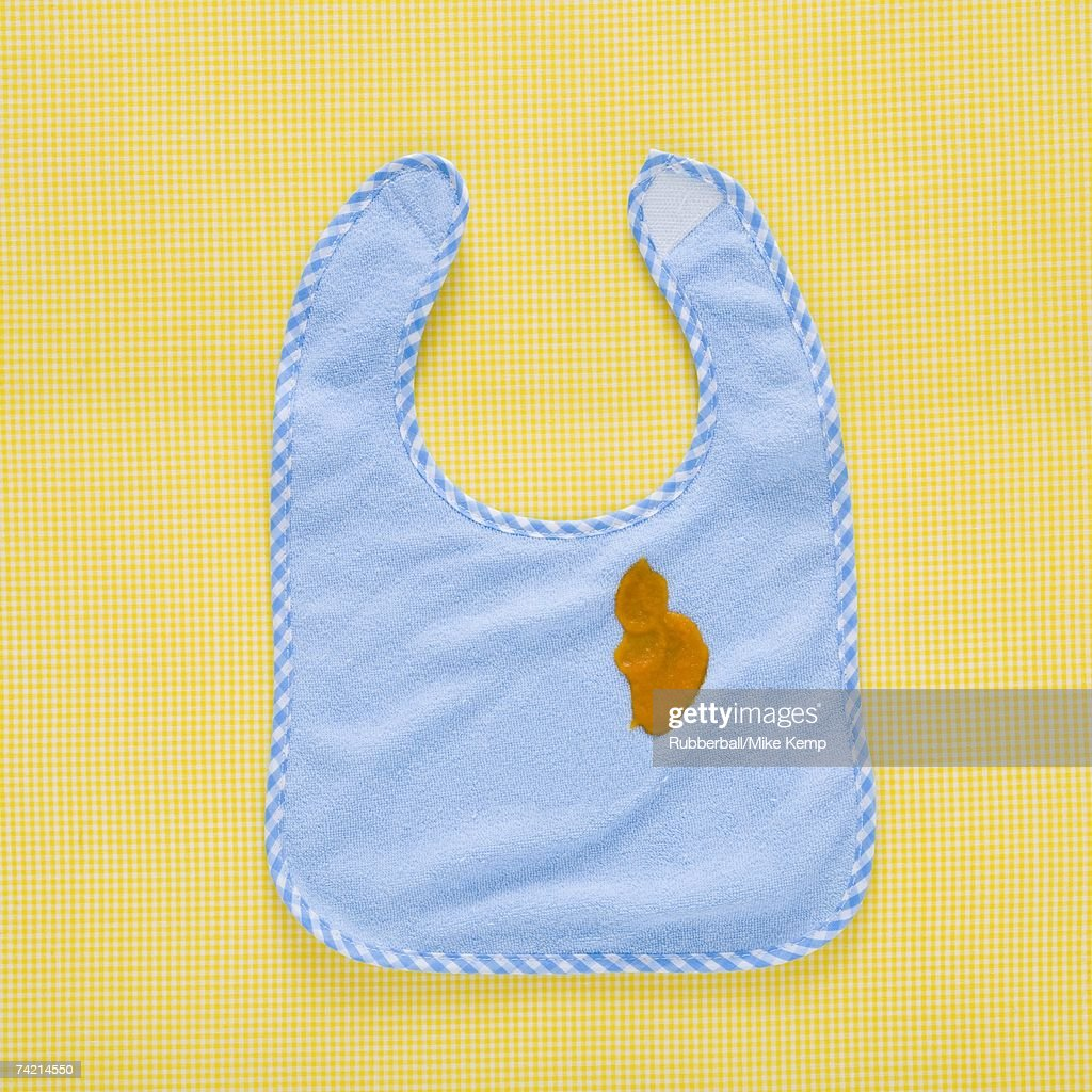 Baby's bib with stain : Stock Photo