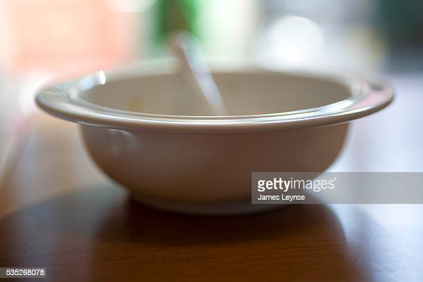 Baby's cereal bowl is empty.