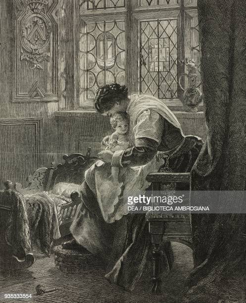 Baby's corner woman with child and a cradle engraving from the painting by Francis John Wyburd illustration from the magazine The Illustrated London...