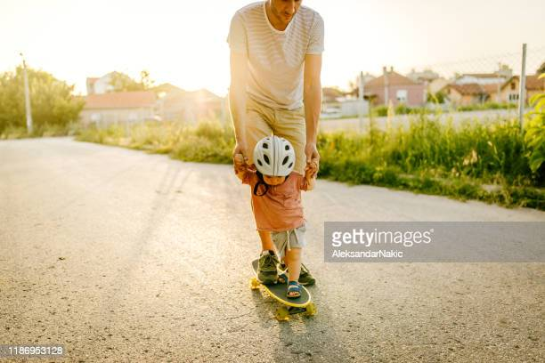 Baby's first skateboard ride