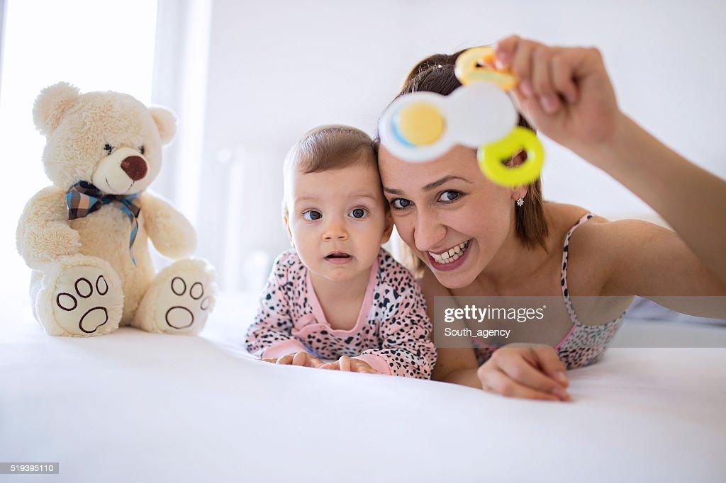 Baby's first Teddy bear : Stock Photo