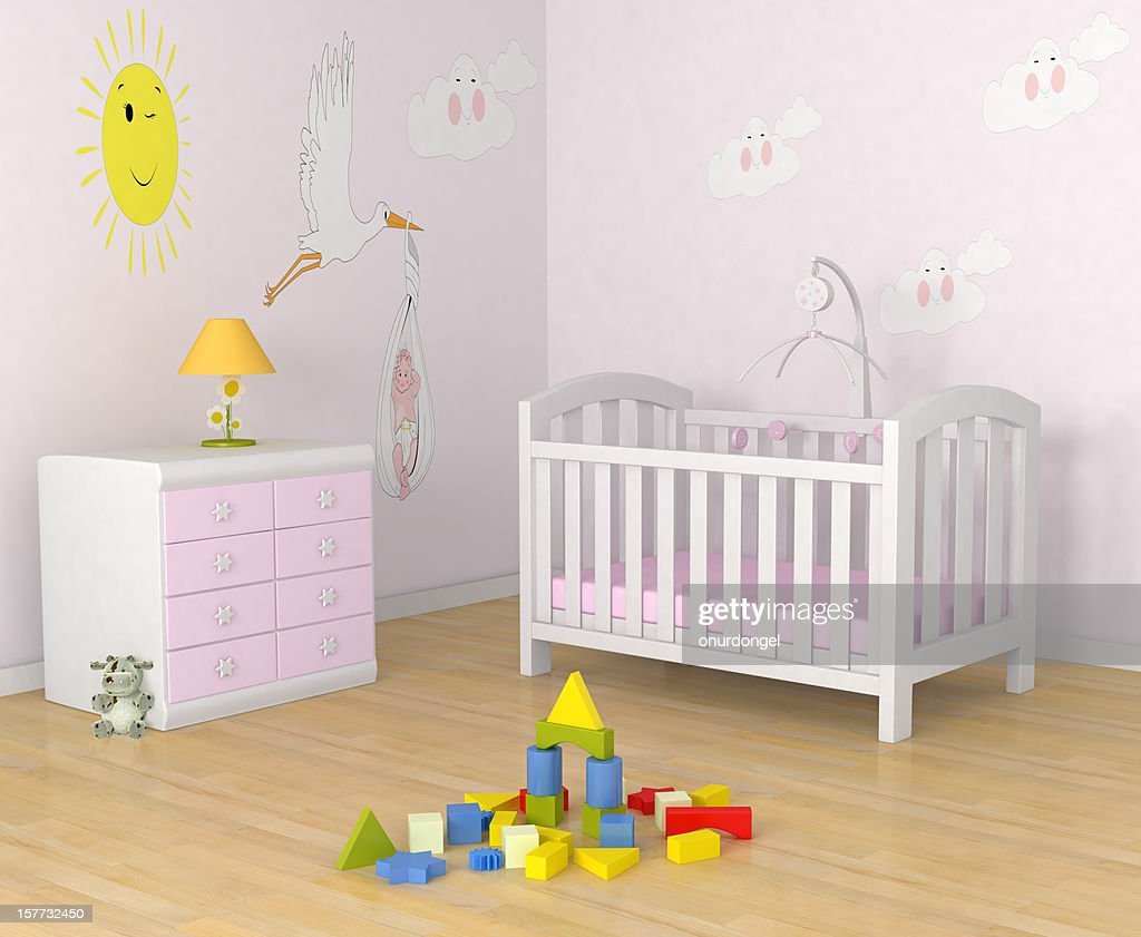 Baby S Room With Decor Crib Toys And A Dresser Lamp Stock Photo
