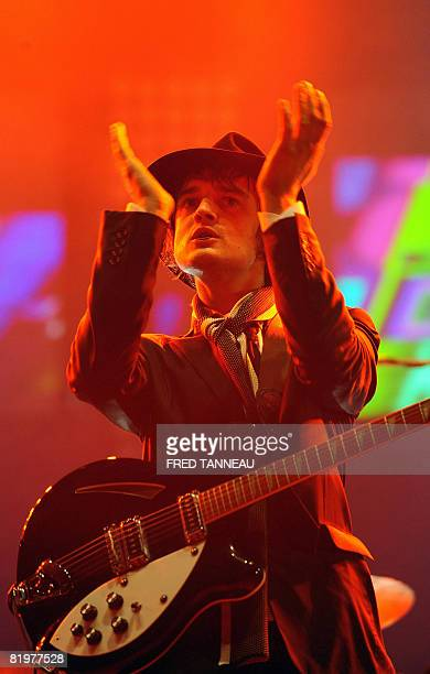 Babyshambles' Britain's singer, Pete Doherty performs on stage on July 18, 2008 in Carhaix-Plouguer, western France, during the 17th edition of the...