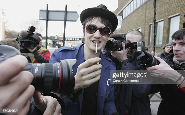 Babyshambles frontman Pete Doherty arrives at court appearing on bail charged with possession of Class A and C drugs after being stopped by police in...