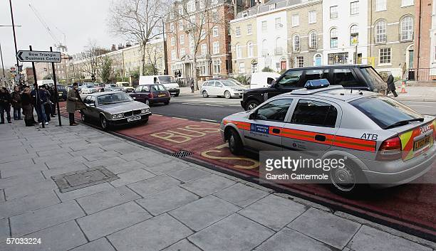 Babyshambles frontman Pete Doherty's leaves his car parked facing the wrong way in a bus lane on March 9 2006 in London England His friend who he...