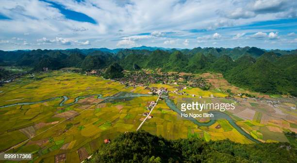 Bac Son Valley form above /Rice field in valley in Bac Son Viewpoint at Lang Son in Vietnam Rainy Season