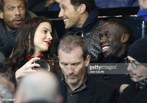 Bacary Sagna and his wife Ludivine Sagna attend the French Ligue 1 match between Paris SaintGermain and Olympique Lyonnais at Parc des Princes...