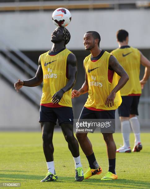 Bacary Sagna and Theo Walcott of Arsenal FC during a training session in Japan for the club's preseason Asian tour at the Mizuho Park Rugby Stadium...