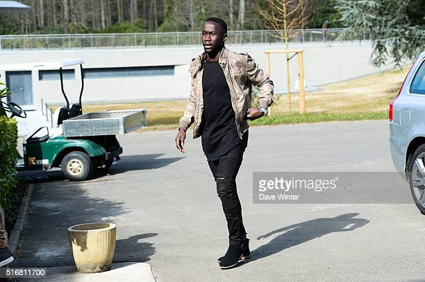 Bacary Sagna arrives at the French National Football Team training on the first day of their training ahead of the friendly match against Netherlands...