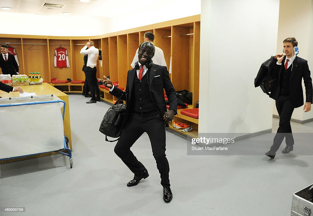 Bacary Sagna in the Arsenal poses in the changing room before the match at Emirates Stadium before the match on January 18, 2014 in London, England.