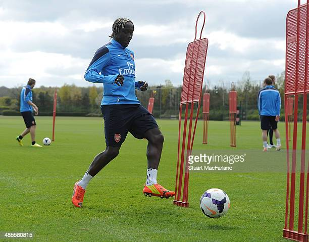 Bacary Sagna of Arsenal during a training session at London Colney on April 19 2014 in St Albans England