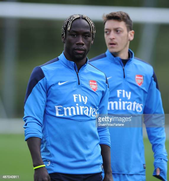 Bacary Sagna of Arsenal during a training session at London Colney on April 27 2014 in St Albans England