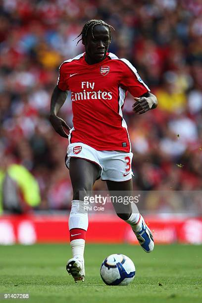 Bacary Sagna of Arsenal runs with the ball during the Barclays Premier League match between Arsenal and Blackburn Rovers at Emirates Stadium on...