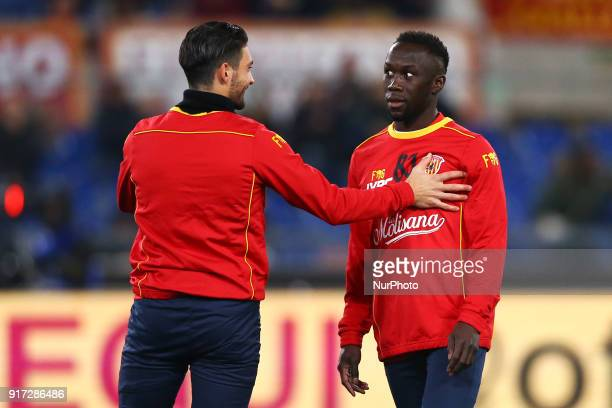 Bacary Sagna of Benevento during the serie A match between AS Roma and Benevento Calcio at Stadio Olimpico on February 11 2018 in Rome Italy