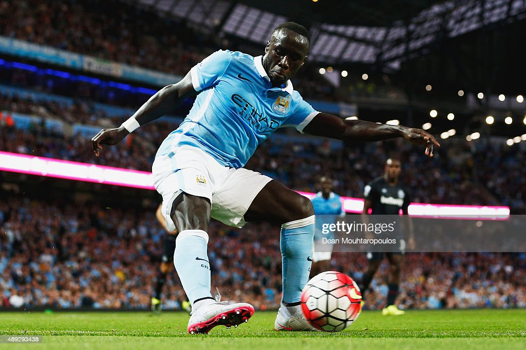 Bacary Sagna of Manchester City passes the ball during the Barclays Premier League match between Manchester City and West Ham United at Etihad Stadium on September 19, 2015 in Manchester, United Kingdom.
