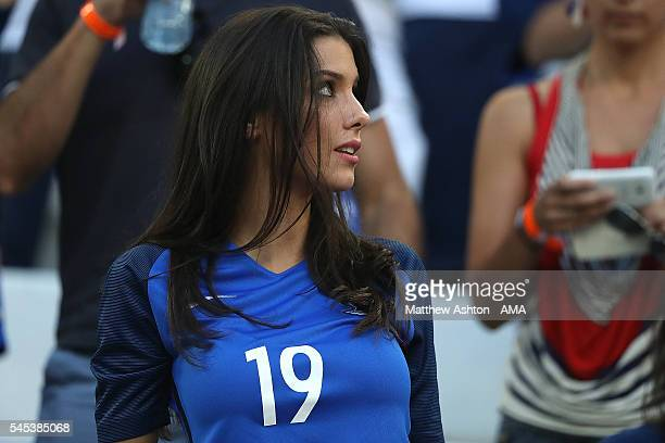 Bacary Sagna's wife Ludivine Sagna looks on during the UEFA Euro 2016 Semi Final match between Germany and France at Stade Velodrome on July 7 2016...
