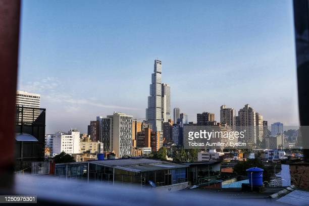 bacata center - bogotá cityscape blue sky in the morning - colombia stock pictures, royalty-free photos & images