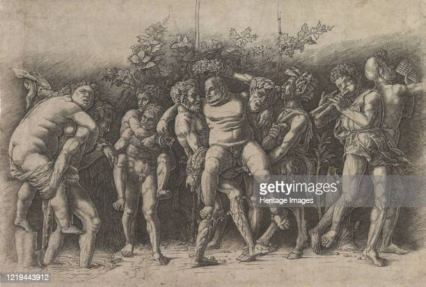 Bacchanal with Silenus; a frieze composition with ten figures around Silenus who is carried by two satyrs, early 1470s. Artist Andrea Mantegna.